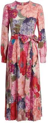 Valentino Floral Silk Crepe Dress