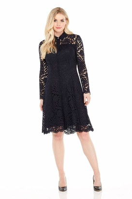 London Times Women's Long Sleeve High Neck Lace Fit and Flare Dress w. Collar