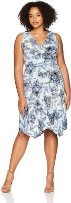 London Times Women's Plus Size Sleeveless Side Ruched Asymetrical Dress