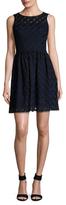 Karen Millen Geo Mesh Checkered Flared Dress