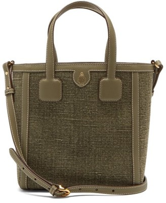 Mark Cross Antibes Small Leather-trimmed Linen Tote Bag - Green