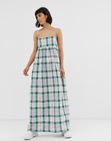 Asos green check strappy maxi dress