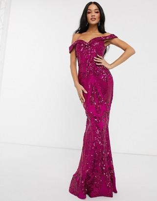 Bariano bardot neck maxi dress with sequin embellishment in fuchsia pink