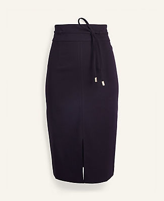 Ann Taylor Knotted Tie Waist Pencil Skirt - Curvy Fit