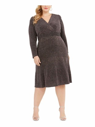 R & M Richards R&M Richards Womens Gray Sequined Zippered Long Sleeve V Neck Knee Length Fit + Flare Evening Dress Plus US Size: 18W