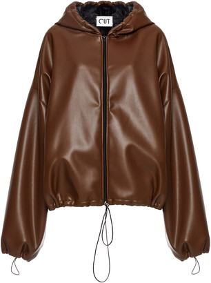 Studio Cut Hooded Faux-Leather Jacket