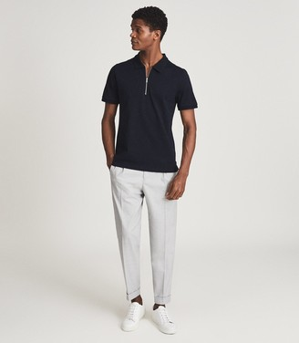 Reiss JUDE PIQUE ZIP NECK POLO SHIRT Navy