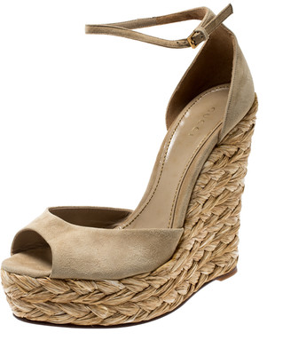 Gucci Grey Suede Ankle Strap Woven Jute Platform Wedges Ankle Strap Sandals Size 38.5
