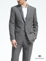 Banana Republic Standard Monogram Gray Wool Blend Suit Jacket