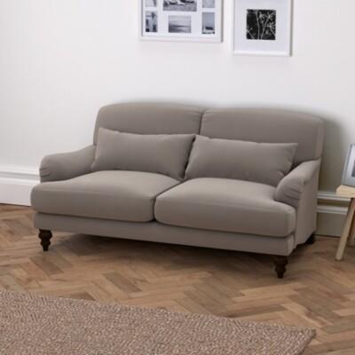The White Company Petersham 2 Seater Velvet Sofa - Natural Oak, Silver Grey Velvet, One Size