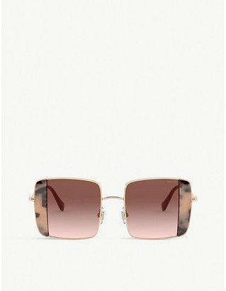 Miu Miu 56VS gold-tone and plastic squared sunglasses