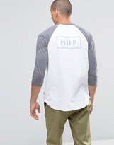 HUF 3/4 Sleeve Raglan T-Shirt With Bar Logo Back Print