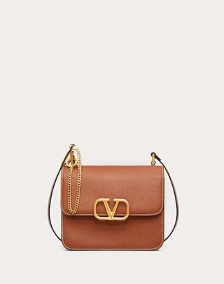 Valentino Vsling Grainy Calfskin Shoulder Bag With Contrast Stitching Women Black 100% Pelle Di Vitello - Bos Taurus OneSize