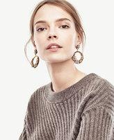 Ann Taylor Drop Crystal Hoop Earrings