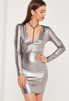 Missguided Harness Detail Metallic Bodycon Dress Silver