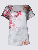 Marks and Spencer Front Floral Print Short Sleeve Jersey Top