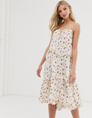 Lost Ink cami midi dress with tiered skirt in vintage floral-White