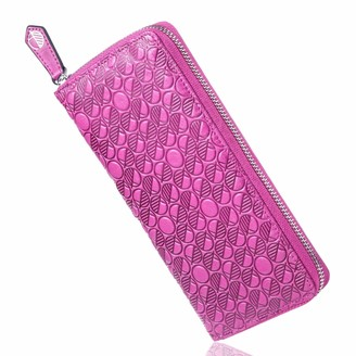 Luxury English Leather Ladies 12 Card Zip Around Purse & Wallet In Fuchsia Pink