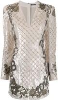 Balmain sequin-embellished short dress