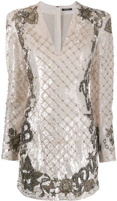 Balmain Sequin-Embellished Short Dress
