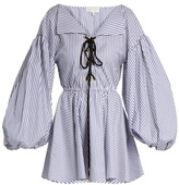 Caroline Constas Olympia lace-up striped cotton dress