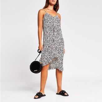 River Island Black sleeveless printed ruffle slip dress