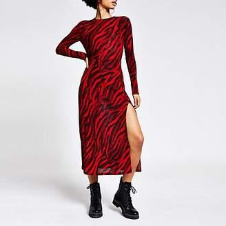 River Island Red printed long sleeve A line midi dress