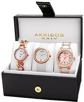 Akribos XXIV Women's AK887RG Quartz Diamonds Bracelet and Strap Watches Set