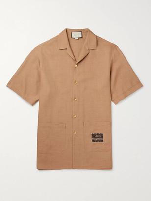 Gucci Camp-Collar Appliqued Hopsack Shirt