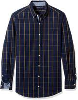 Nautica Men's Big and Long Sleeve Cotton Marina Poplin Plaid Shirt
