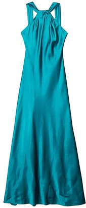 Calvin Klein Knot Neck Gown (Viridian) Women's Dress