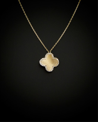 Italian Gold 14K Two-Tone Rimmed Satin Clover Necklace