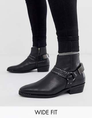 Asos Design DESIGN Wide Fit cuban heel western chelsea boots in black leather with studding and hardware detail