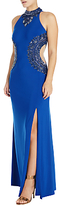 Adrianna Papell Beaded Halterneck Gown, Royal Blue