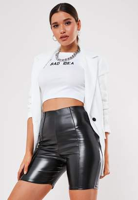 Missguided Black Faux Leather Cycling Shorts