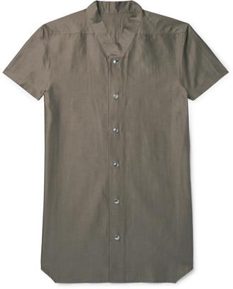 Rick Owens Slim-Fit Collarless Cotton And Silk-Blend Shirt