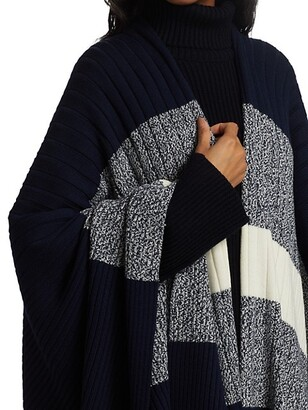 St. John Colorblock Rib-Knit Wool Cardigan