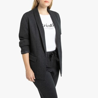 La Redoute Collections Plus Straight Cut Herringbone Blazer with Pockets