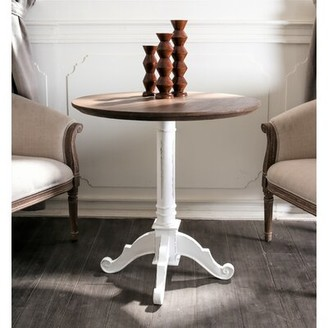 August Grove Madison End Table August Grove Table Base Color: Antique White, Table Top Color: Brown