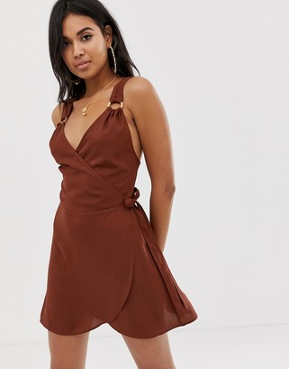 Asos DESIGN wrap front beach dress with wooden look trim in chocolate brown