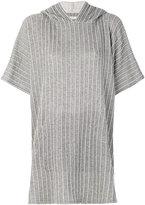 Julien David hooded stripe poncho top