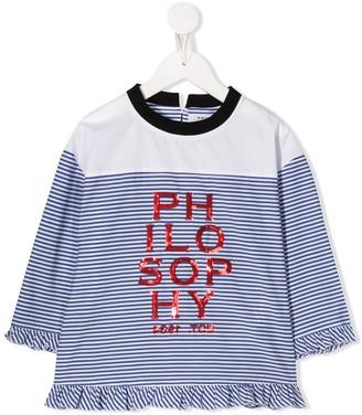 Philosophy Di Lorenzo Serafini Kids striped logo T-shirt