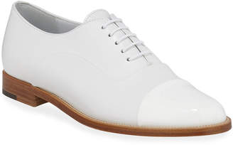 Manolo Blahnik Rodita Cap-Toe Leather Oxfords
