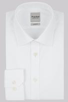 Hardy Amies Slim Fit White Single Cuff Textured Shirt