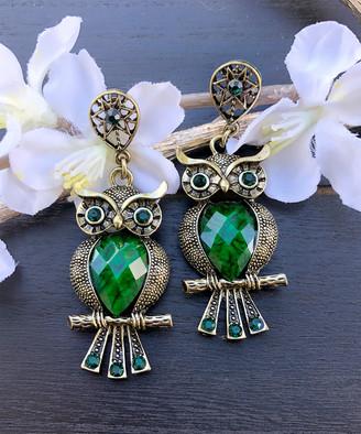 Besheek BeSheek Women's Earrings GREEN - Green Rhinestone & Goldtone Antiqued Owl Drop Earrings