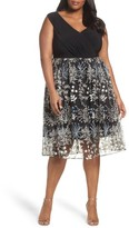 Adrianna Papell Plus Size Women's Embroidered Overlay Fit & Flare Dress