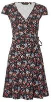 Dorothy Perkins Womens Black Floral Print Wrap Jersey Dress, Black