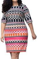AMZ PLUS Women Plus Size Geometric Contrast Color Stright Dress 4XL