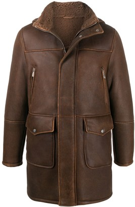 Eleventy Shearling Lined Leather Coat