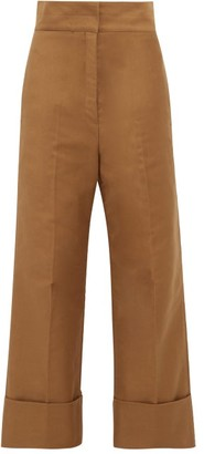 Lemaire Cotton-twill Wide-leg Trousers - Womens - Khaki